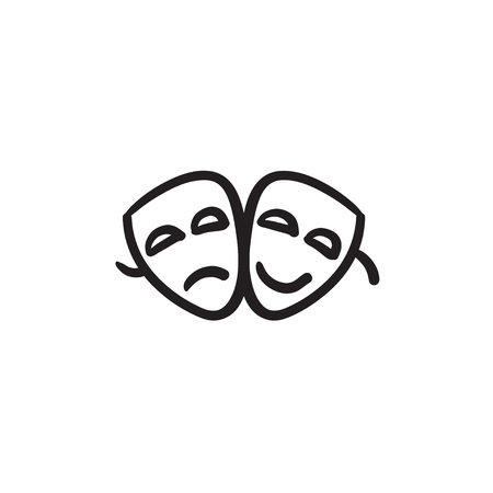 theatrical performance: Two theatrical masks vector sketch icon isolated on background. Hand drawn Two theatrical masks icon. Two theatrical masks sketch icon for infographic, website or app. Illustration