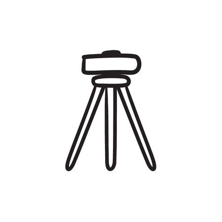 topografo: Teodolito en el trípode dibujo icono del vector aislado en el fondo. Dibujado a mano en el icono del teodolito trípode. Teodolito en el trípode dibujo icono de infografía, sitio web o aplicación.