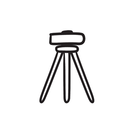 geodesy: Theodolite on tripod vector sketch icon isolated on background. Hand drawn Theodolite on tripod icon. Theodolite on tripod sketch icon for infographic, website or app.