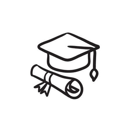 Graduation cap and paper scroll vector sketch icon isolated on background. Hand drawn Graduation cap and paper scroll icon. Graduation cap and paper scroll sketch icon for infographic, website or app. Illustration