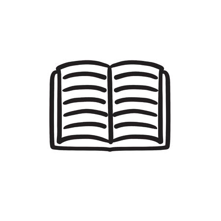 開かれた本のスケッチのアイコン。