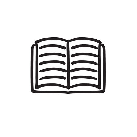 Open book sketch icon.