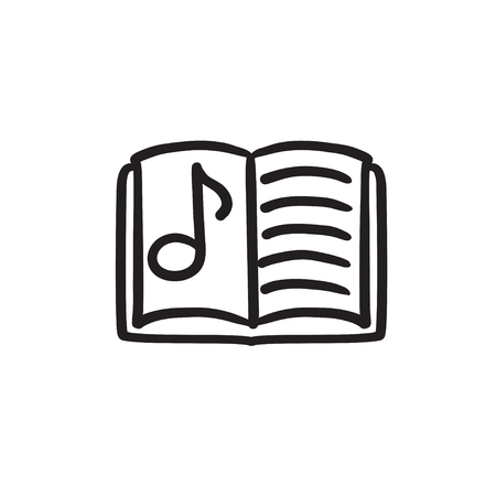 open notebook: Music book vector sketch icon isolated on background. Hand drawn Music book icon. Music book sketch icon for infographic, website or app.