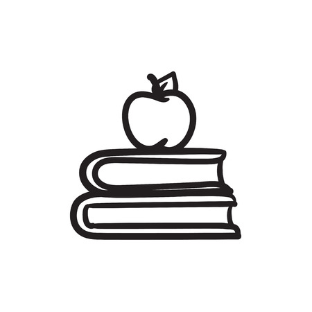 Books and apple on top vector sketch icon isolated on background. Hand drawn Books and apple on top icon. Books and apple on top sketch icon for infographic, website or app.