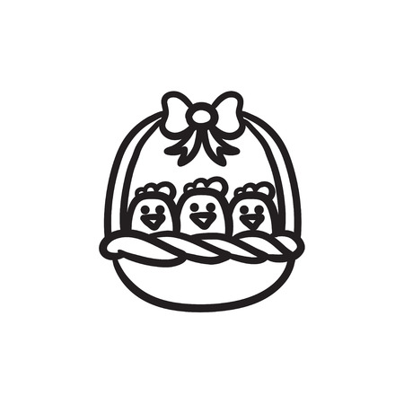 Basket full of easter chicks vector sketch icon isolated on background. Hand drawn Basket full of easter chicks icon. Basket full of easter chicks sketch icon for infographic, website or app. Illustration