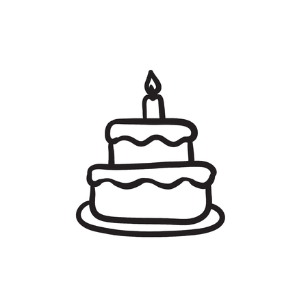 creme: Easter cake with candle vector sketch icon isolated on background. Hand drawn Easter cake with candle icon. Easter cake with candle sketch icon for infographic, website or app.