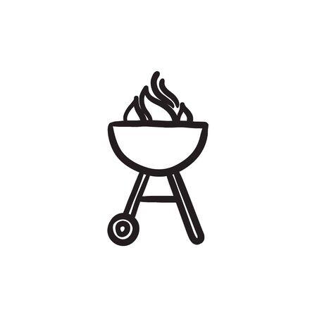 Kettle barbecue grill vector sketch icon isolated on background. Hand drawn Kettle barbecue grill icon. Kettle barbecue grill sketch icon for infographic, website or app. Illustration