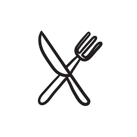meat chopper: Knife and fork vector sketch icon isolated on background. Hand drawn Knife and fork icon. Knife and fork sketch icon for infographic, website or app. Illustration