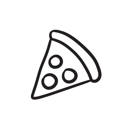 Pizza slice vector sketch icon isolated on background. Hand drawn Pizza slice icon. Pizza slice sketch icon for infographic, website or app. Illustration