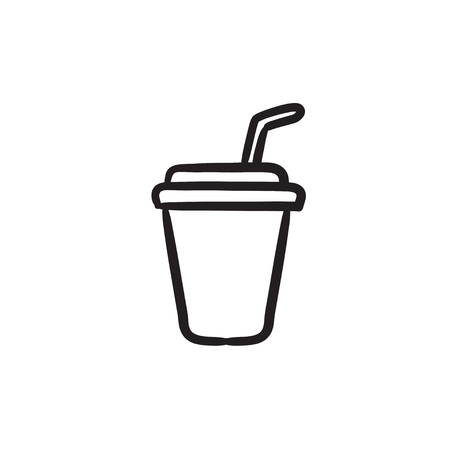 Disposable cup with drinking straw vector sketch icon isolated on background. Hand drawn Disposable cup with drinking straw icon. Disposable cup sketch icon for infographic, website or app.