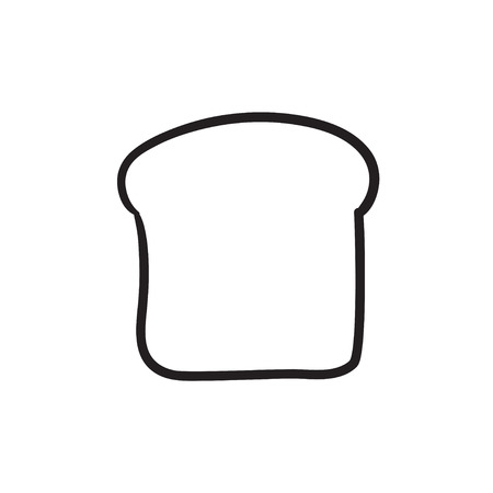 Single slice of bread vector sketch icon isolated on background. Hand drawn Single slice of bread icon. Single slice of bread sketch icon for infographic, website or app. Illustration