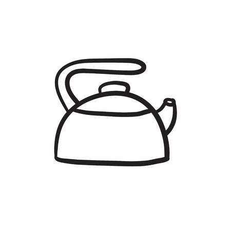 Kettle vector sketch icon isolated on background. Hand drawn Kettle icon. Kettle sketch icon for infographic, website or app.