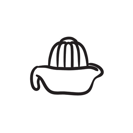 Lemon squeezer vector sketch icon isolated on background. Hand drawn Lemon squeezer icon. Lemon squeezer sketch icon for infographic, website or app.