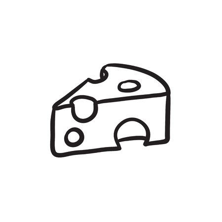 a portion: Piece of cheese vector sketch icon isolated on background. Hand drawn Piece of cheese icon. Piece of cheese sketch icon for infographic, website or app.
