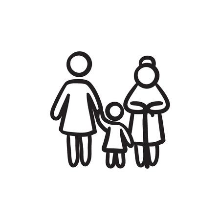 Famille vecteur croquis icône isolé sur fond. Hand drawn icône de la famille. Famille icône esquisse pour infographie, site Web ou application.