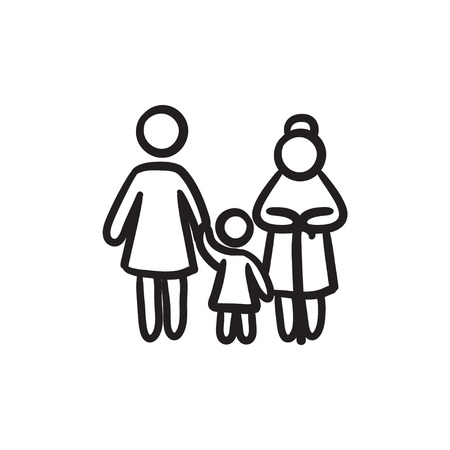 family: Family vector sketch icon isolated on background. Hand drawn Family icon. Family sketch icon for infographic, website or app. Illustration