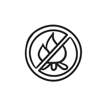forewarning: No fire sign vector sketch icon isolated on background. Hand drawn No fire sign icon. No fire sign sketch icon for infographic, website or app.