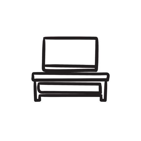 tv screen: Flat screen tv on modern tv stand vector sketch icon isolated on background. Hand drawn Flat screen tv on tv stand icon.
