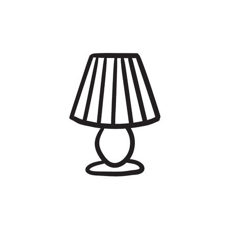 Tafellamp vector schets pictogram geïsoleerd op de achtergrond. Hand getekend tafellamp pictogram. Tafellamp schets pictogram voor infographic, website of app. Stock Illustratie