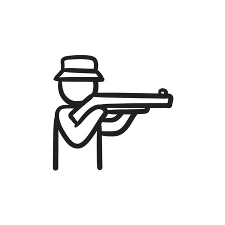 Hunter vector sketch icon isolated on background. Hand drawn Hunter icon. Hunter sketch icon for infographic, website or app.