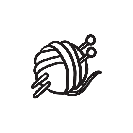 Threads for knitting with spokes vector sketch icon isolated on background. Hand drawn Threads for knitting with spokes icon. Knitting sketch icon for infographic, website or app. Фото со стока - 72136865