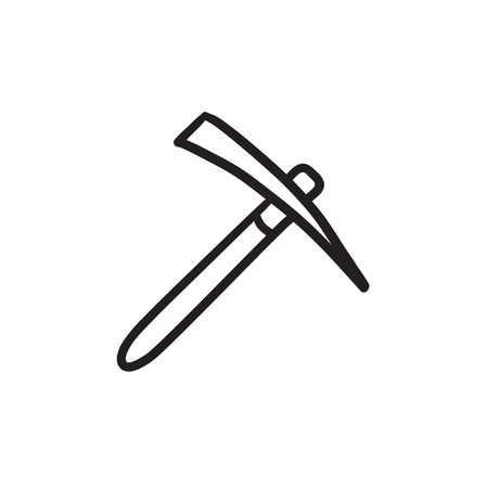 heavy industry: Pickax vector sketch icon isolated on background. Hand drawn Pickax icon. Pickax sketch icon for infographic, website or app.