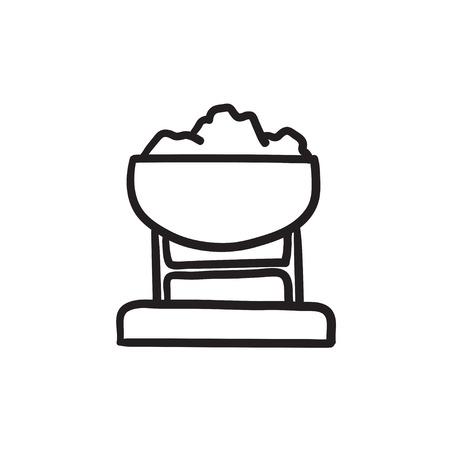 Mijn trolley vol met kolen vector schets pictogram geïsoleerd op de achtergrond. Hand getekend Mine trolley vol met kolen pictogram. Mijn trolley vol met kolen schets pictogram voor infographic, website of app.