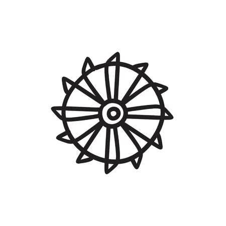 Rotating cutting drum of coal machine vector sketch icon isolated on background. Hand drawn cutting drum of coal machine icon. Cutting drum of coal machine sketch icon for infographic, website or app. Ilustração
