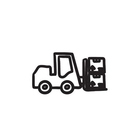Forklift vector sketch icon isolated on background. Hand drawn Forklift icon. Forklift sketch icon for infographic, website or app. Illustration