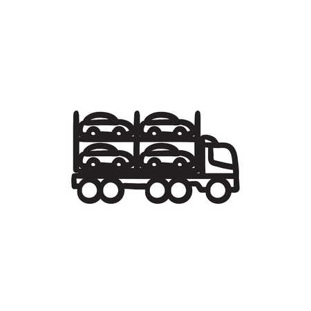 Car carrier vector sketch icon isolated on background. Hand drawn Car carrier icon. Car carrier sketch icon for infographic, website or app. Illustration