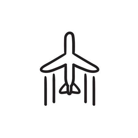 Cargo plane vector sketch icon isolated on background. Hand drawn Cargo plane icon. Cargo plane sketch icon for infographic, website or app.
