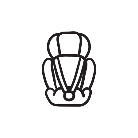 Baby car seat vector sketch icon isolated on background. Hand drawn Baby car seat icon. Baby car seat sketch icon for infographic, website or app.