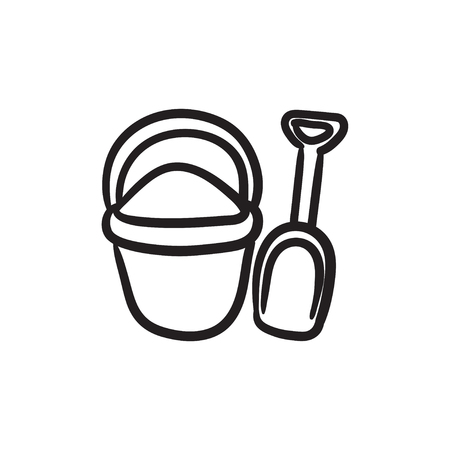 hand shovels: Bucket and spade for children vector sketch icon isolated on background. Hand drawn Bucket and spade for children icon. Bucket and spade for children sketch icon for infographic, website or app. Illustration