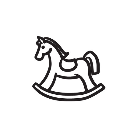 Rocking horse vector sketch icon isolated on background. Hand drawn Rocking horse icon. Rocking horse sketch icon for infographic, website or app. Illustration