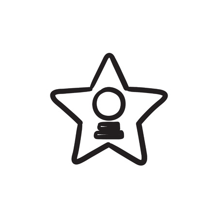 Cinema star vector sketch icon isolated on background. Hand drawn Cinema star icon. Cinema star sketch icon for infographic, website or app.  イラスト・ベクター素材