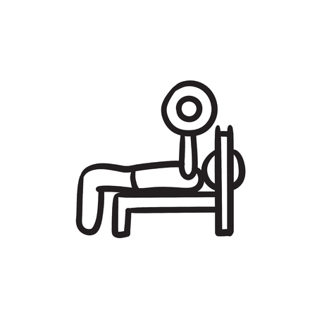 Man lying on bench and lifting barbell vector sketch icon isolated on background. Hand drawn Man lifting barbell icon. Man lifting barbell sketch icon for infographic, website or app.