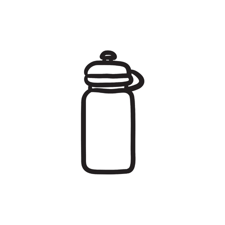 nonalcoholic: Sport water bottle vector sketch icon isolated on background. Hand drawn Sport water bottle icon. Sport water bottle sketch icon for infographic, website or app.