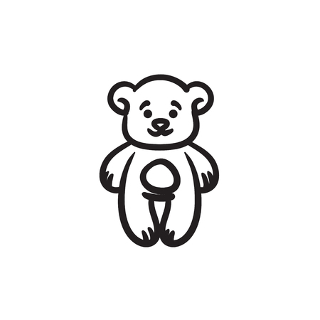 Teddy bear vector sketch icon isolated on background. Hand drawn Teddy bear icon. Teddy bear sketch icon for infographic, website or app.