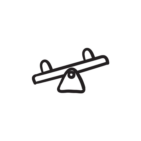 sentarse: Seesaw vector sketch icon isolated on background. Hand drawn Seesaw icon. Seesaw sketch icon for infographic, website or app.