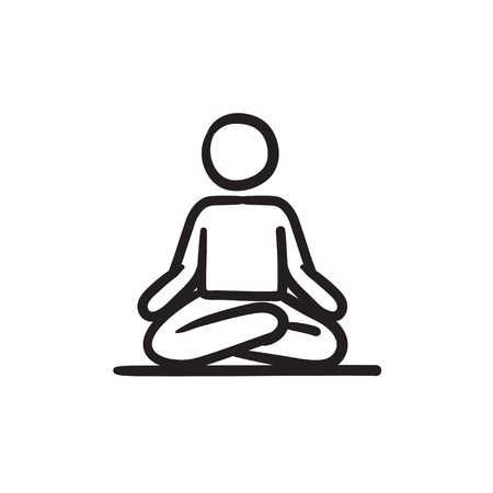 elasticidad: A man meditating in lotus pose vector sketch icon isolated on background. Hand drawn man meditating in lotus pose icon. Man meditating in lotus pose sketch icon for infographic, website or app. Vectores
