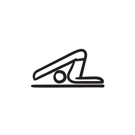 plow: A man practicing yoga plough pose vector sketch icon isolated on background. Hand drawn man practicing yoga plough pose icon. Man in yoga plough pose sketch icon for infographic, website or app.