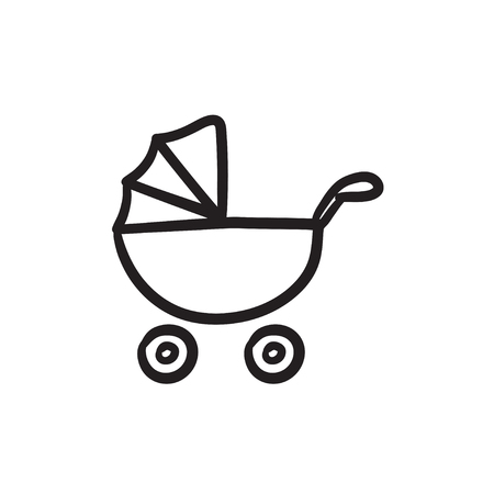 Baby stroller vector sketch icon isolated on background. Hand drawn Baby stroller icon. Baby stroller sketch icon for infographic, website or app.