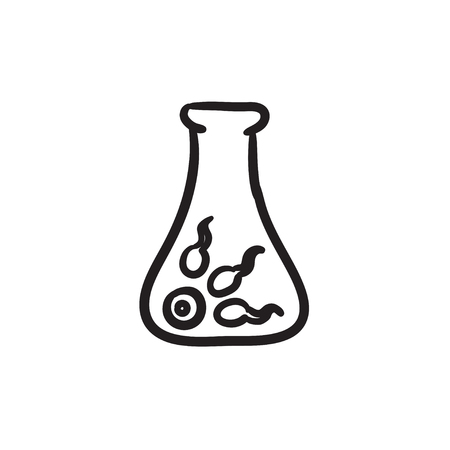 vitro: In vitro fertilisation vector sketch icon isolated on background. Hand drawn In vitro fertilisation icon. In vitro fertilisation sketch icon for infographic, website or app. Vectores
