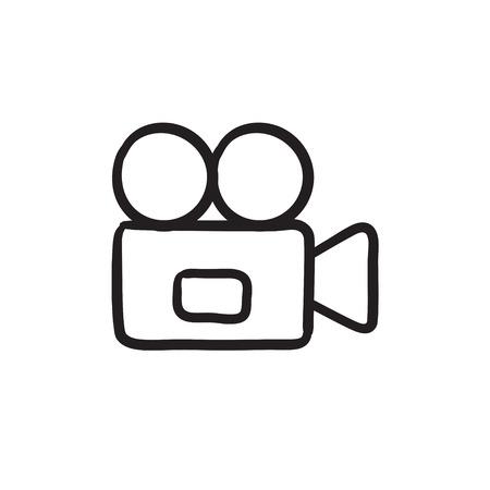 Videocamera icona del disegno vettoriale isolato su sfondo. A mano icona della videocamera. Video icona dello schizzo macchina fotografica per infografica, sito web o un'applicazione.