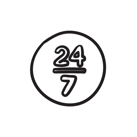 Open 24 hours and 7 days in wheek sign vector sketch icon isolated on background. Hand drawn Open 24 hours and 7 days sign icon. Open 24 hours and 7 days sketch icon for infographic, website or app.