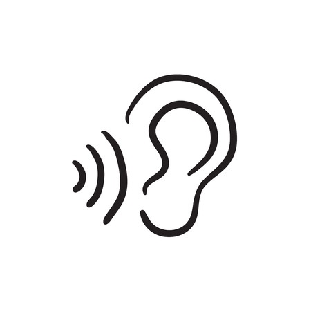 oscillation: Ear and sound waves vector sketch icon isolated on background. Hand drawn Ear and sound waves icon. Ear and sound waves sketch icon for infographic, website or app.