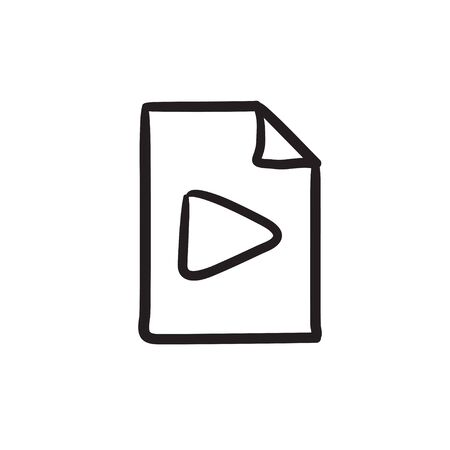 Audio file vector sketch icon isolated on background. Hand drawn Audio file icon. Audio file sketch icon for infographic, website or app. Illustration
