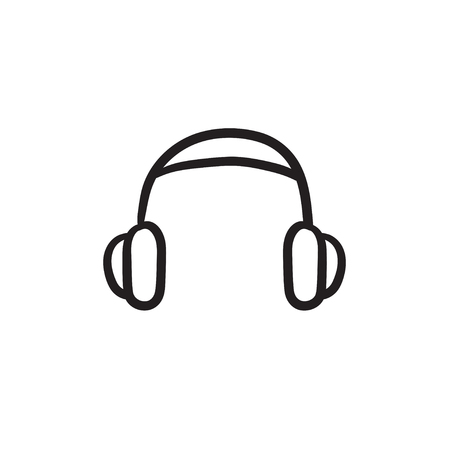 Headphone vector sketch icon isolated on background. Hand drawn Headphone icon. Headphone sketch icon for infographic, website or app. Illustration