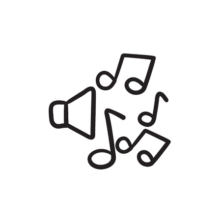 Loudspeakers with music notes vector sketch icon isolated on background. Hand drawn Loudspeakers with music notes icon. Loudspeakers with music notes sketch icon for infographic, website or app.