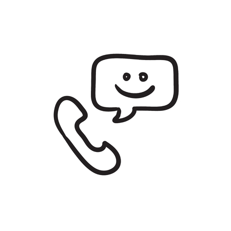 receiver: Receiver with speach square vector sketch icon isolated on background. Hand drawn Receiver with speach square icon. Receiver with speach square sketch icon for infographic, website or app.